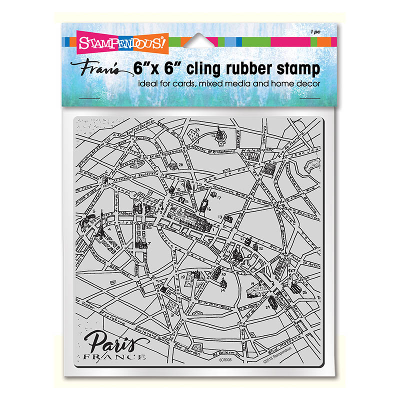 Cling Paris Map 6X6 Rubber Stamp