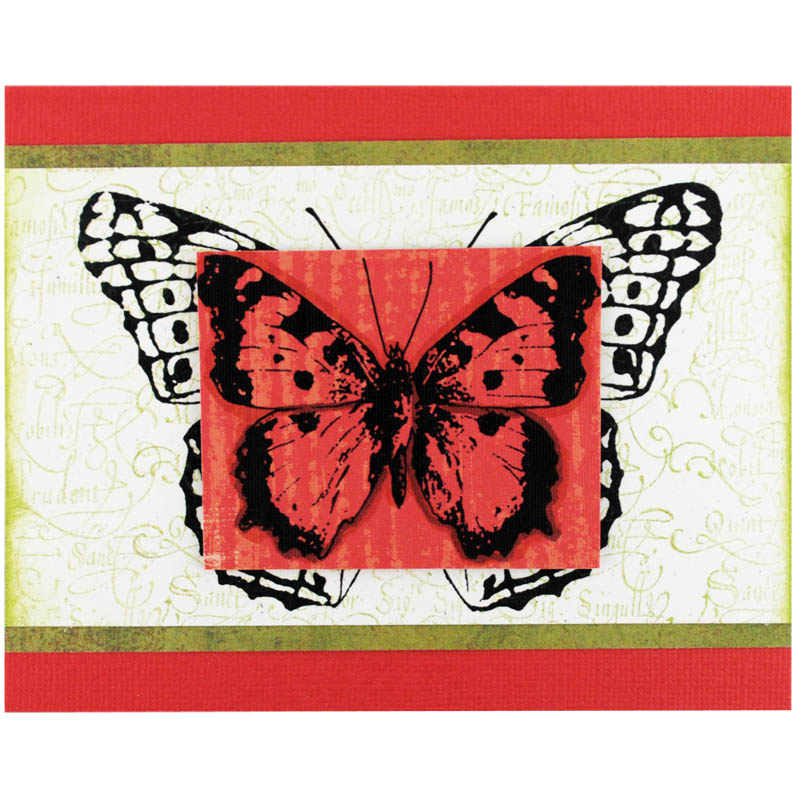 Butterfly Trio Images STAMPENDOUS CRS5044 Jumbo Cling Rubber Stamp Sets