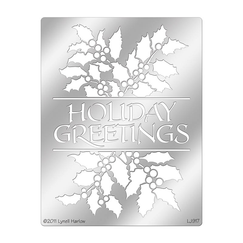 Holiday greetings and holly metal stencil m4hsunfo