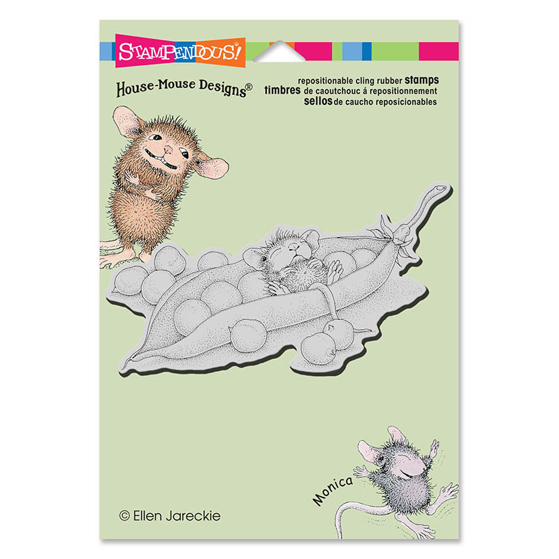House Mouse Pea Pod Nap Cling Stamp