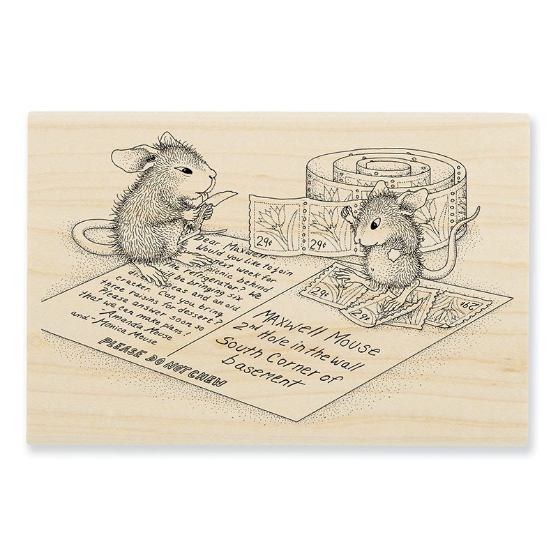 Postcard Mice Rubber Stamp