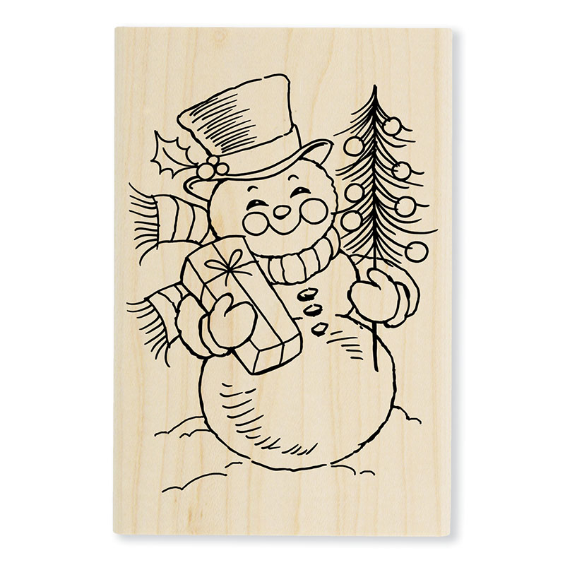 Hand carved snowman rubber stamp