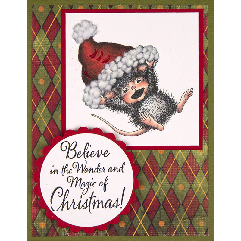 Believe Christmas Rubber Stamp