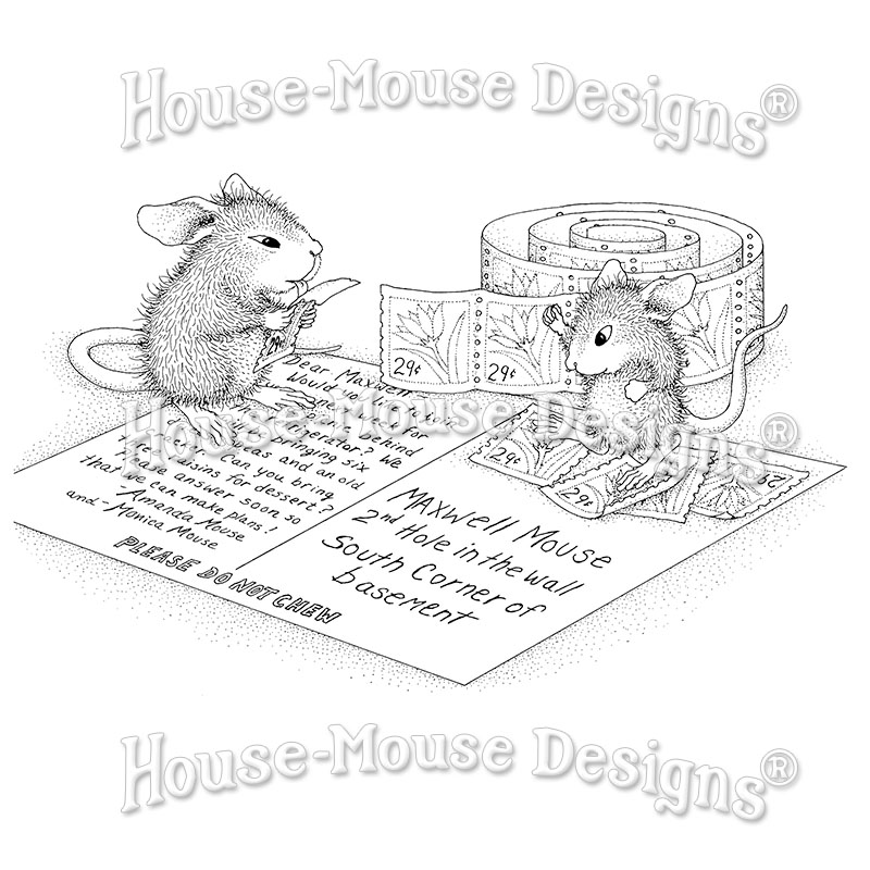 P29 Bride and Groom Wedding mice Rubber Stamp