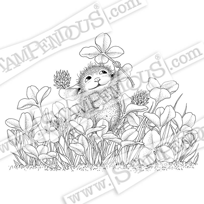 Stampendous HMP104 Clover Bouquet Wood Rubber Stamp