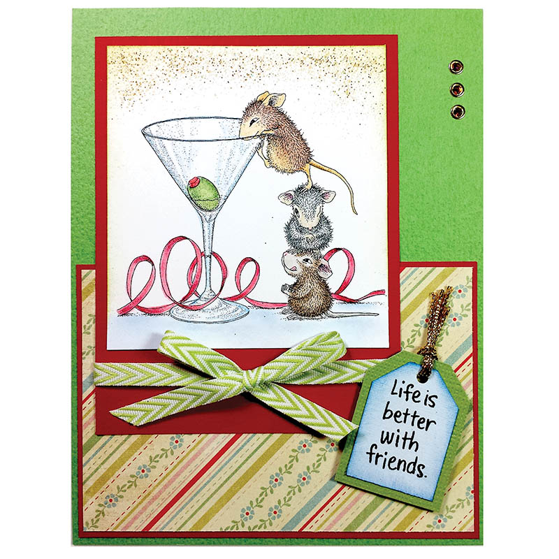 Martini Mice Rubber Stamp
