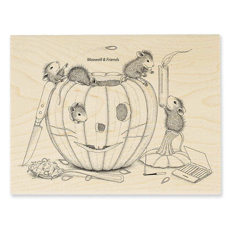 Pumpkin carving rubber stamp