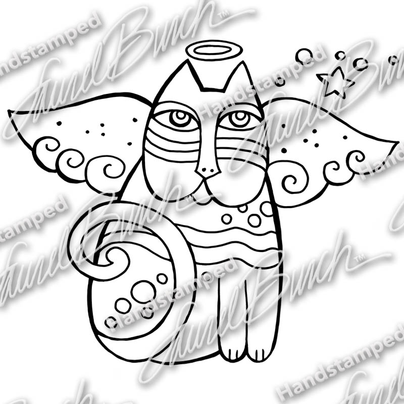 Laurel Burch Cat Angel Rubber Stamp