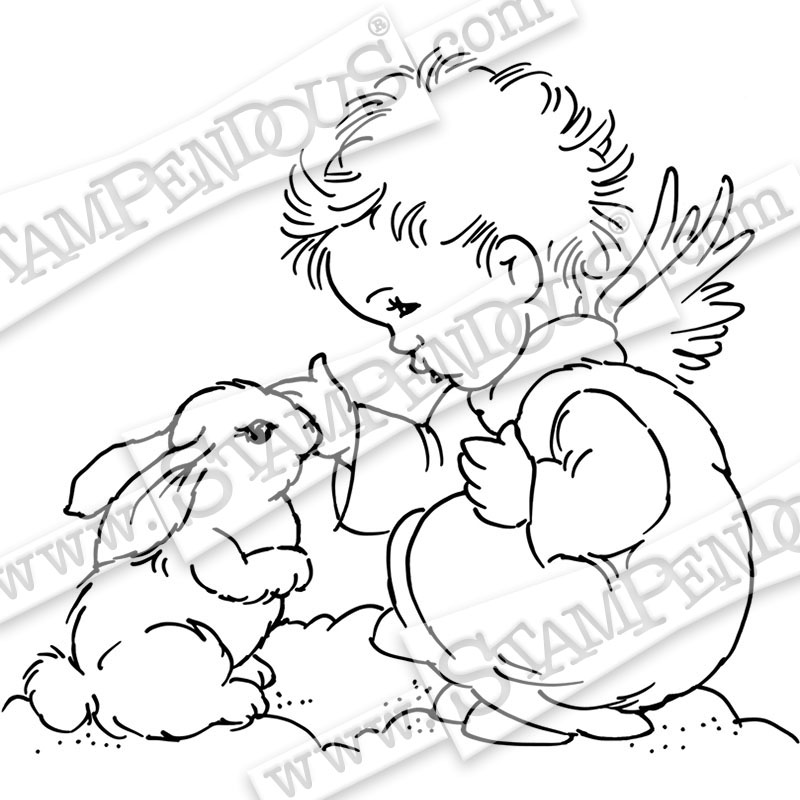 Bunny Cherub CRQ239 Stampendous Cling Stamp