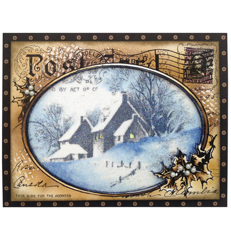 Stampendous  Wood Mounted Rubber Stamp Snow Postcard