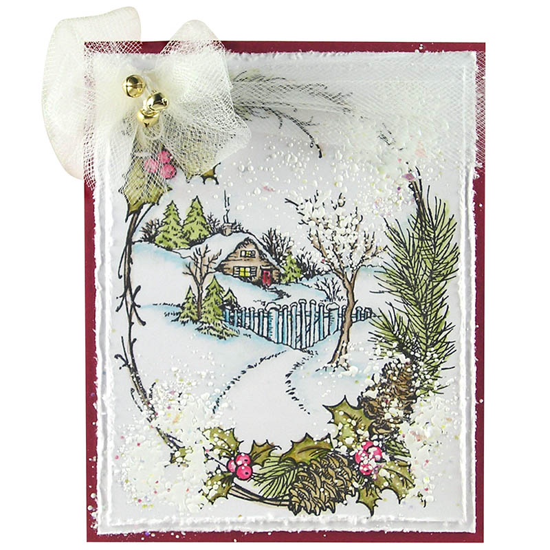 Christmas Cottage Rubber Stamp