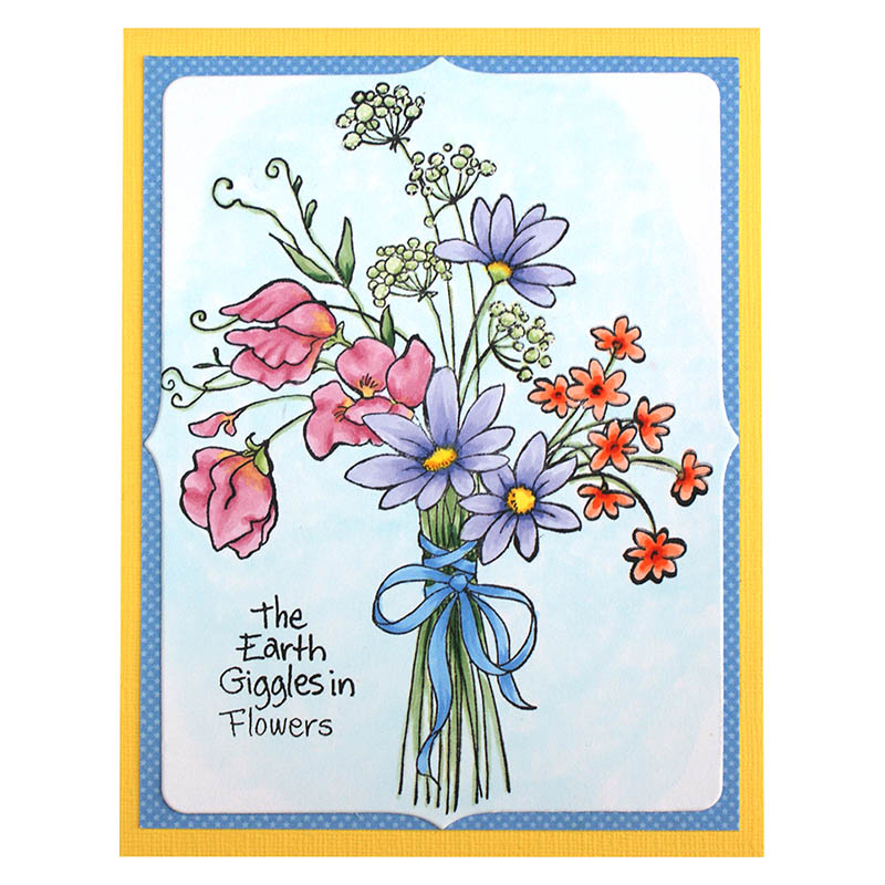 Sweet Pea Bouquet Rubber Stamp