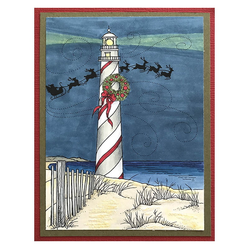 Lighthouse Christmas Rubber Stamp