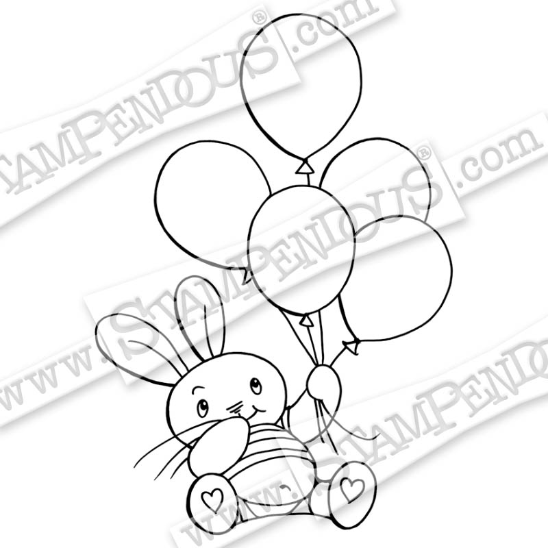 Balloon Bunny Rubber Stamp