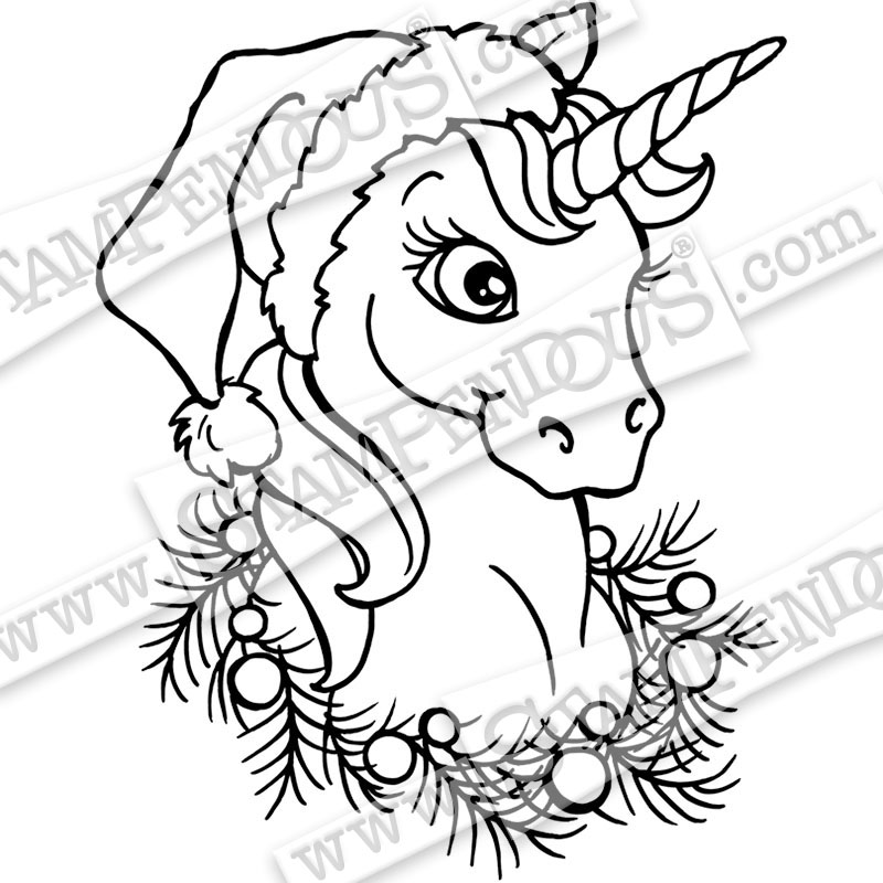 This is a graphic of Playful Unicorn Christmas Coloring Pages