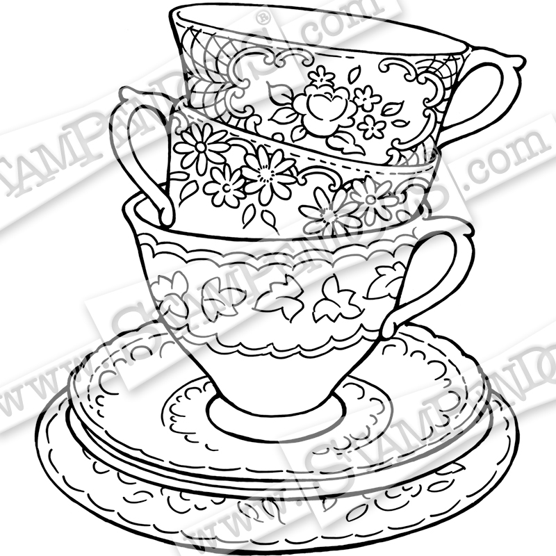 simple coloring pages of tea cups | Teapot Posies Rubber Stamp