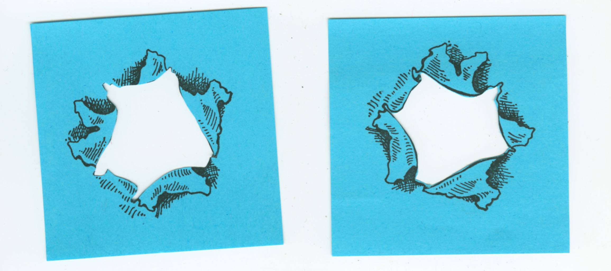 mortise masks stamped on post-it notes